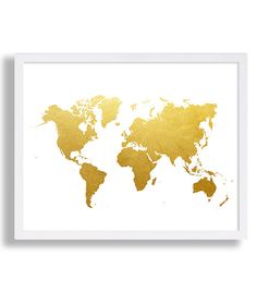 World Map Print Faux Gold Art Print Modern by CocoAndJamesHome