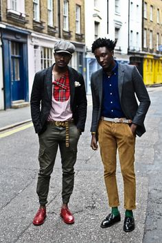 MEN IN RED........street etiquette, ordinary guys looking good..