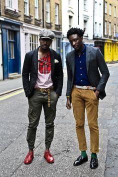 MEN IN RED........street etiquette, ordinary guys looking good..