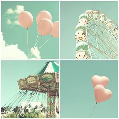 Mint Photography, Love Photography, Nursery art, Carnival, Ferris wheel, Carousel, Pastel, Nursery Print, Nursery Decor, Vintage Print. $20.00, via Etsy.