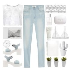"""""""White ♡"""" by noe-poterala ❤ liked on Polyvore featuring MANGO, Nearly Natural, Topshop, even&odd, SUQQU, Muji, Smashbox, Lonely, H2O+ and Polaroid"""