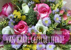 Een vrolijke bos bloemen. Leuk om te sturen om iemand te feliciteren.