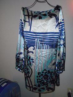 HALE BOB Paris Los Angeles Mod Floral Dress Long Sleeves Trendy Cool sz S #HaleBob #Shift #Casual