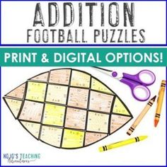 ADDITION Football Math Activities, Puzzles, Test Prep, or Games | 1st, 2nd, 3rd grade, Activities, Basic Operations, Google Apps, Homeschool, Math, Math Centers, Mental Math Sports Theme Classroom, 3rd Grade Classroom, Special Education Classroom, Fun Math, Math Activities, Reading Recovery, Ell Students, Halloween Math, Critical Thinking Skills