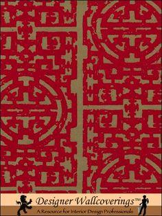 Chinese Fret Flocked Velvet Wallpaper - Red Flock on aged gold [FLK-126] : Designer Wallcoverings, Specialty Wallpaper for Home or Office