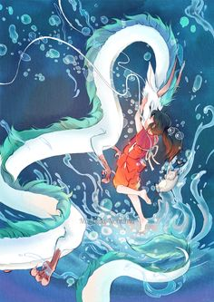 Spirited Away | Hayao Miyazaki | Studio Ghibli / Ogino Chihiro and Haku / floating river Haku x Chihiro by mariposa-nocturna on deviantART