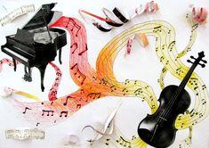 Hudba - koláž, kopie hudebních nástrojů, abstraktní malba - záznam hudby, notové zápisy z vyřazených knih . . . kolage výtvarná výchova elementary art