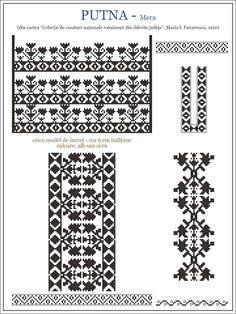 Semne Cusute: iie din MOLDOVA, Putna - Mera (zona Vrancea) Folk Embroidery, Embroidery Patterns, Cross Stitch Patterns, Aztec Decor, Cross Stitch Cushion, Palestinian Embroidery, Simple Cross Stitch, Beading Patterns, Fun Patterns