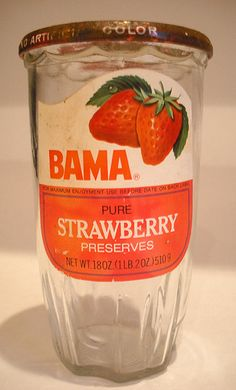 Vintage 1970's Borden Bama Strawberry Preserves, with the jar you saved to drink out of  :-)  #South #Southern