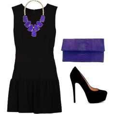 purple necklace with a black dress