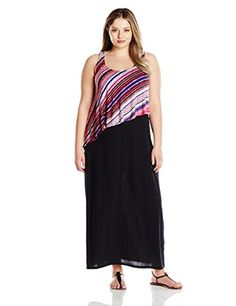 Allison Brittney Womens Plus Size ScoopNeck Tank Dress with Popover Tpo Black 2X -- Click on the image for additional details.