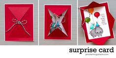 Jennifer McGuire Ink: Surprise Card... using die. Maybe achieve similar results with a ruler and x-acto knife