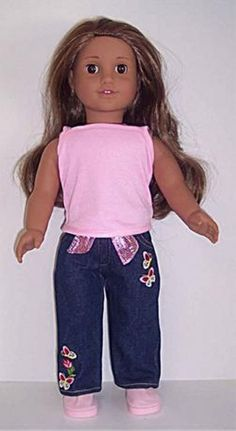 """Pink Tank Top & Denim Jeans Pants made for 18"""" American Girl Doll Clothes #DorisDollBoutique #DollClothes"""