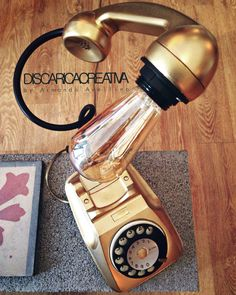 Original Italian retro telephone from the '70-80 revised as a table lamp #artsandcraftslamp