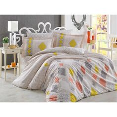 Dose Of Modern Rhapsody - Cream Poplin Double Quilt Cover Set - Cream Yellow Brick Red Grey Double Quilt, Quilt Cover Sets, Red And Grey, California King, Poplin, Bed Sheets, Comforters, Duvet Covers, Blanket
