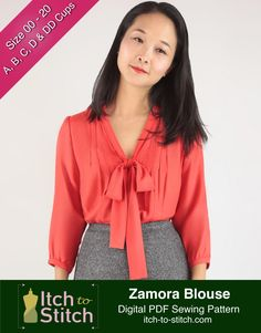 Sewing Pattern for Women: Zamora Blouse Digital Sewing Pattern (PDF) by ItchToStitchDesigns on Etsy https://www.etsy.com/uk/listing/286577183/sewing-pattern-for-women-zamora-blouse