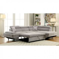 Foreman Gray Sectional Sofa - CM6124GY Description : Sweet relaxation is all yours with this versatile sectional sofa. Enjoy lounging in its cushioned seats, which allow you to fully stretch out and t