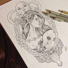 Ideas Art Nouveau Tattoo Moon Illustrations For 2020 Neue Tattoos, Body Art Tattoos, Sleeve Tattoos, Arabic Tattoos, Tatoos, Tatoo Art, Tattoo Sketches, Tattoo Drawings, Tattoo Mond