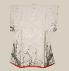 Early to Meiji (1868-1900)   This silk antique uchikake features a rinzu (damask) base, with large fan and paulownia motifs. The plum blossom is symbolic of purity and nobility due to its enriched smell and elegant appearance. In the cold winter snow, the plum blossom grows new flowers from seemingly dead branches. The depiction of a five petal blossom represents new life at the end of the winter and is highly revered as an auspicious symbol in Japan.