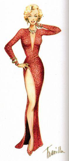 "Travilla Costume Design for Marilyn Monroe, ""Gentlemen Prefer Blondes"" by thefoxling, via Flickr"