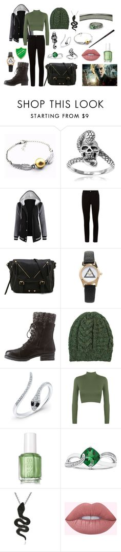 Slytherin Casual by haleyd13 on Polyvore featuring WearAll, Charlotte Russe, Call it SPRING, Forever 21, Tressa, Anne Sisteron, NOVICA, Essie and mark.
