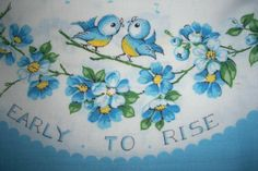 Vintage bluebirds pillow case