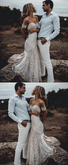 2018 Beach Wedding Dress, Off the Shoulder Wedding Dress, Lace Bridal Dress