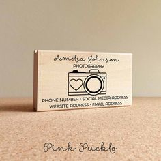 Personalized Photography Business Card Stamp Camera by PinkPueblo2