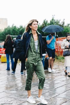 MFW-Milan_Fashion_Week-Spring_Summer_2016-Street_Style-Say_Cheese-Gucci-Sarah_Ruston-Bomber-Khaki_Jumpsuit-Adidas