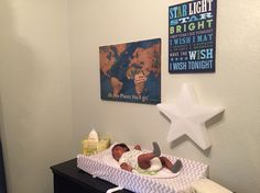 Baby boy's room. The star is a night light for early morning diaper changes.