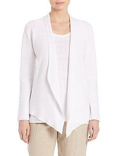 Eileen Fisher Organic Linen Drape-Front Jacket - White - Size