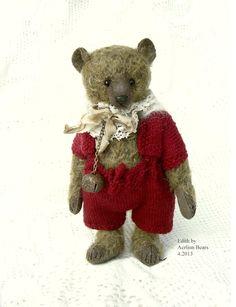 """EDNA, One Of a Kind 7"""" Vintage Style Mohair Artist Teddy Bear From AERLINN BEARS"""