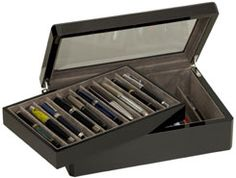 Carbon fiber pen box from Venlo. Holds 20 pens Features Glass window  Removable tray to access lower compartment Ten slots up top and ten on the  bottom efab07335037