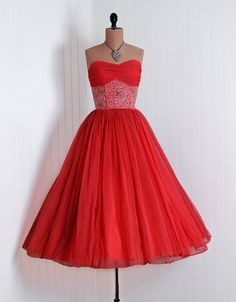 1950's Vintage Persimmon-Pink Beaded Sequin Chiffon-Couture Sweetheart Low-Cut Plunge Shelf-Bust Strapless Nipped-Waist Rockabilly Ballerina-Cupcake Princess Circle-Skirt Bombshell Bustle-Peplum Formal Wedding Evening Cocktail Prom Party Dress