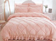 Solid Pink Pinch Pleat 4-Piece Cotton Duvet Cover Sets #cotton #bedding #bedroom #sweat