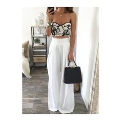 Solid White Elastic Waist Ankle Length Pants (55 BRL) ❤ liked on Polyvore featuring pants, white, elastic waistband pants, ankle zip pants, zipper pants, ankle zip jeans and print pants