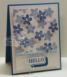 Colour Me...! Challenge #1 using Stampin' Up! Petite Petals Stamp Set. Debbie Henderson, Debbie's Designs