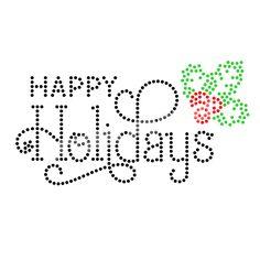 Happy Holidays Simple Beauty Rhinestone Heat Transfers Wholesale