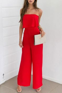 SPECIFICATIONS: Product Name Red Fashion Strapless Sleeveless Jumpsuit Brand Bellalike Color Red SKU Gender Women Style Elegant/Sexy/Fashion Type Jumpsuit Occasion Party/Vacation/Daily Life Material Chiffon Sleeve Sleeveless Decoration Plain Jumpsuit Dressy, Red Jumpsuit, Jumpsuit Outfit, Jumpsuits For Women Formal, Long Jumpsuits, Chic Outfits, Fashion Outfits, Red Fashion, Style Fashion