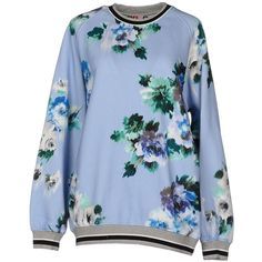 Msgm Sweatshirt ($315) ❤ liked on Polyvore featuring tops, hoodies, sweatshirts, sky blue, long sleeve tops, blue sweatshirt, blue top, sweat tops and msgm
