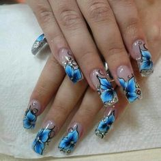 #flower #blue #nail #design