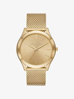 ece962787993 Michael Kors Oversized Slim Runway Gold-Tone Mesh Watch