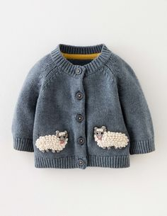 Baby Boden Sheep Cardigan in Sail Blue Marl/Sheep (BLU) - Give your little explo. Baby , Baby Boden Sheep Cardigan in Sail Blue Marl/Sheep (BLU) - Give your little explo. Baby Boden Sheep Cardigan in Sail Blue Marl/Sheep (BLU) - Give you. Baby Knitting Patterns, Knitting For Kids, Crochet For Kids, Crochet Ideas, Baby Boy Knitting, Knitting Ideas, Crochet Patterns, Baby Boy Cardigan, Cardigan Bebe