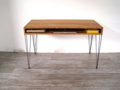 White Oak Mid Century Desk With Hand-Welded Hairpin Legs. via Etsy.