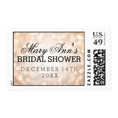 Wedding Save The Date Copper Glitter Lights Postage
