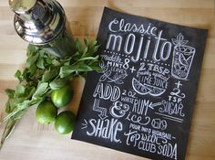 Typography Print - Mojito Recipe - Cocktail Recipe - Kitchen Art - Chalkboard Art - Hand Lettering on Etsy, $24.00