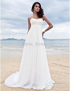 Wholesale Discount a line sweetheart white chiffon empire waist wedding dresses pleated lace beach casual, Free shipping, $99.68-108.64/Piece | DHgate
