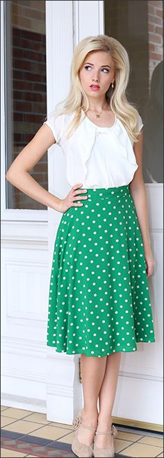 Full Skirt Mid-Length. Green with white polka dots high waist circle skirt