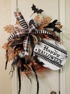 Happy Halloween Grapevine Wreath, Halloween Wreath, Grapevine Wreath, Halloween Door Wreath, Grapevine Decor, Happy Halloween Decor by SouthTXCreations on Etsy