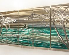 Gold, Turquoise & Silver Tropical Metal Painting - Nautical Decor - Modern Metal Wall Art - Beach Scene - Castaway Summer by Jon Allen